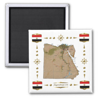 Egypt Map + Flags Magnet