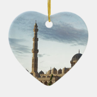egypt mosque Double-Sided heart ceramic christmas ornament