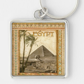 Egypt, Pyramid Silver-Colored Square Keychain