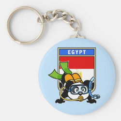 Egypt Scuba Diving Panda Basic Button Keychain