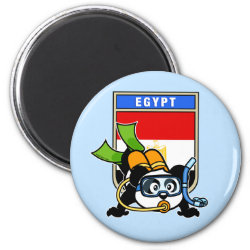Round Magnet with Egypt Scuba Diving Panda design