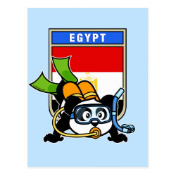 Postcard with Egypt Scuba Diving Panda design