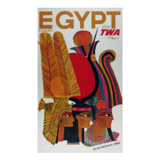 Egypt Vintage Air Travel Ancient Culture Tourism Poster