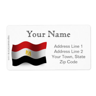 Egypt Waving Flag Label