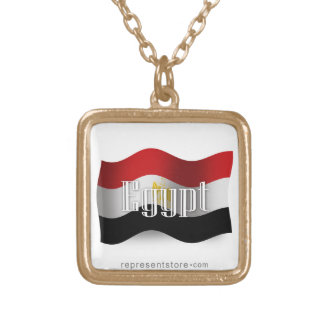 Egypt Waving Flag Square Pendant Necklace