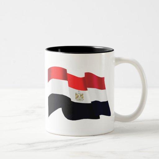 Egypt wavy flag - Egypt is Free Two-Tone Coffee Mug