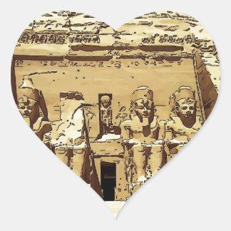 Egyptian Abu Simbel temples Heart Sticker