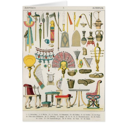 Egyptian Accessories, from 'Trachten der Voelker' Greeting Card