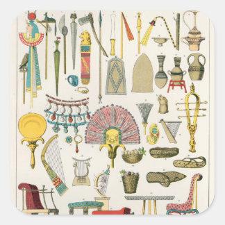 Egyptian Accessories, from 'Trachten der Voelker' Square Sticker