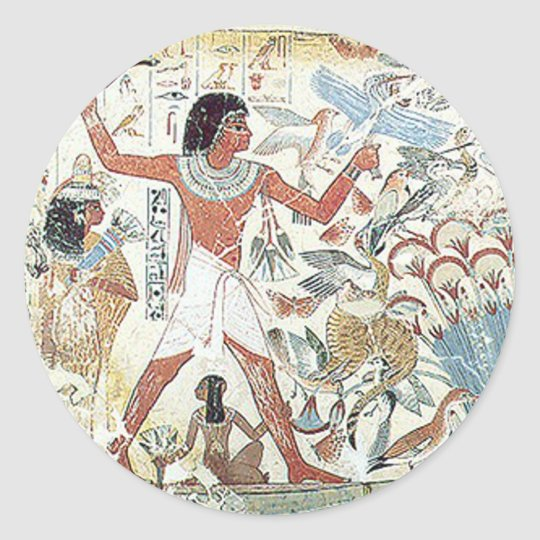 egyptian / african hunting scene tablet freeze classic round sticker