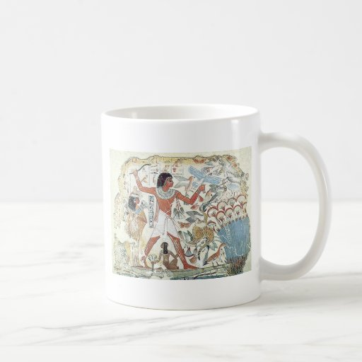 egyptian / african hunting scene tablet freeze mugs