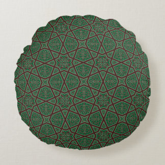 Egyptian arabic geometric pattern in brown green round pillow