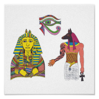 Egyptian Art King With Anubis And Eye of RA Poster