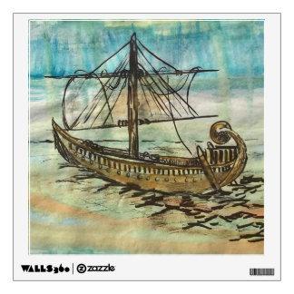 Egyptian Barque Sailing Ship Art Wall Sticker