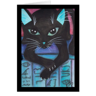 Egyptian Bast Black Cat Card