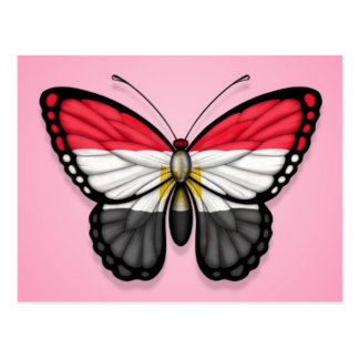 Egyptian Butterfly Flag on Pink Postcard