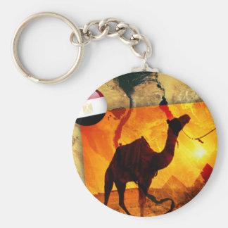 Egyptian camel basic round button keychain