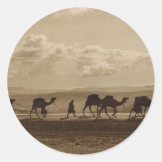 Egyptian camel transport passing over Olivet, 1918 Classic Round Sticker
