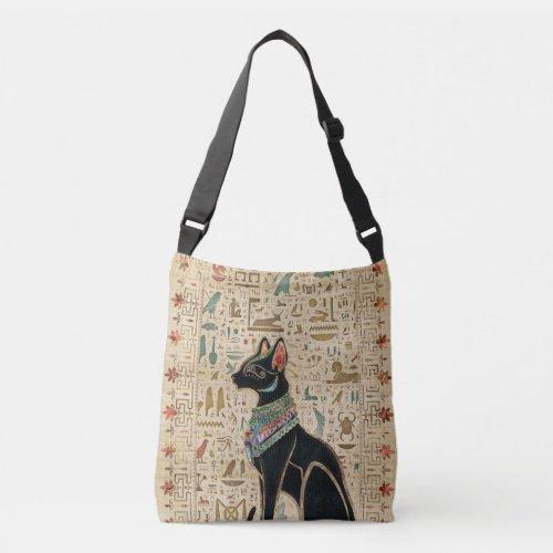 Egyptian Cat - Bastet on papyrus Crossbody Bag