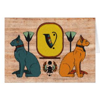 Egyptian Cat Cartouche Monogram Greeting Card: V Greeting Card