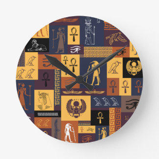 Egyptian Collage Round Clock