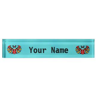 Egyptian Colorful Bold Vibrant Scarab Beetle Name Plate