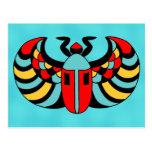 Egyptian Colorful Bold Vibrant Scarab Beetle Post Card