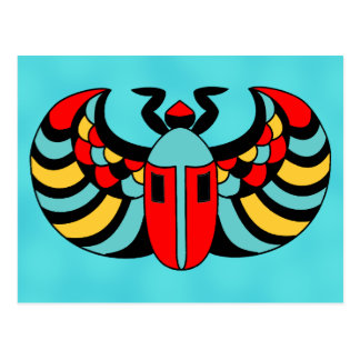 Egyptian Colorful Bold Vibrant Scarab Beetle Postcard