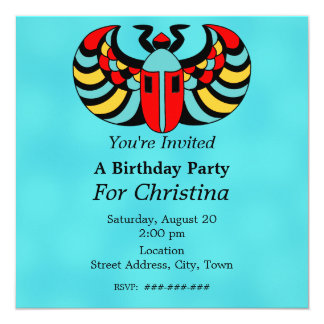 Egyptian Colorful Vibrant Scarab Beetle Birthday 5.25x5.25 Square Paper Invitation Card