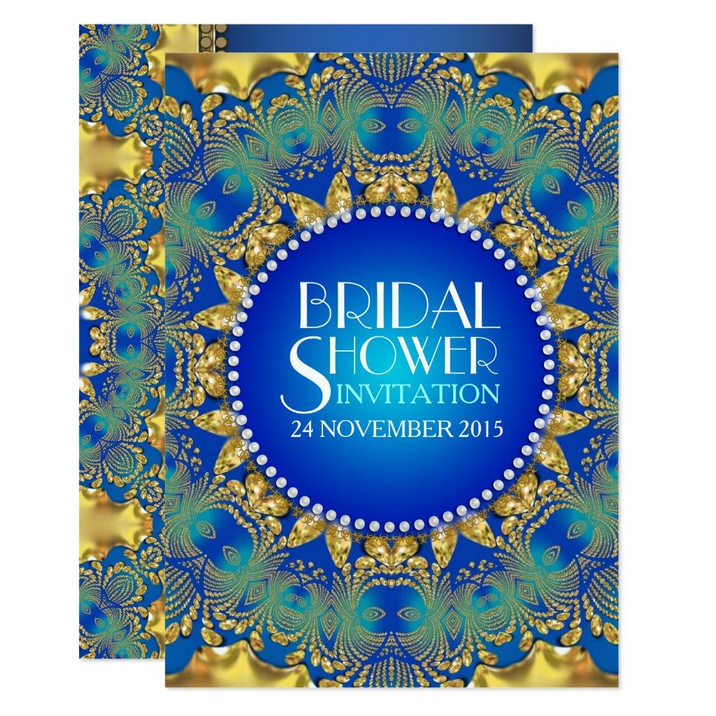 Egyptian Deco Blue+Gold Sun Bridal Shower Invites