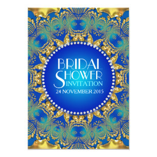 egyptian deco bluegold sun bridal shower invites