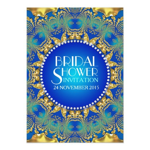 Egyptian Deco Blue Gold Sun Bridal Shower Invites