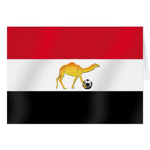 Egyptian desert camel soccer ball flag card