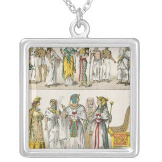 Egyptian Dress, from 'Trachten der Voelker' Square Pendant Necklace