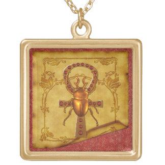 Egyptian Elegance Optical Folk Art Square Pendant Necklace
