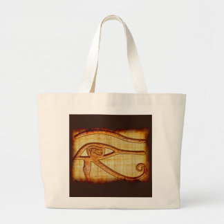 Egyptian Eye of Horus Ancient Papyrus-effect Art Large Tote Bag