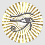 Egyptian Eye of Horus Gold and Black Classic Round Sticker