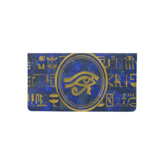 Egyptian Eye of Horus - Wadjet Lapis Lazuli Checkbook Cover