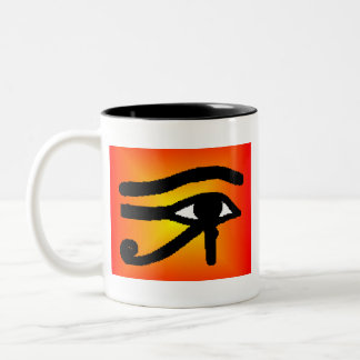 egyptian eye Two-Tone coffee mug
