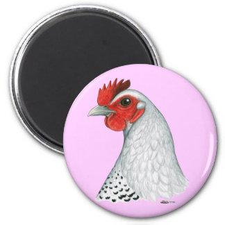 Egyptian Fayoumi:  Silver Hen Magnets
