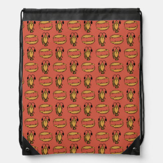 Egyptian Fish Crocodile on Red Drawstring Backpack