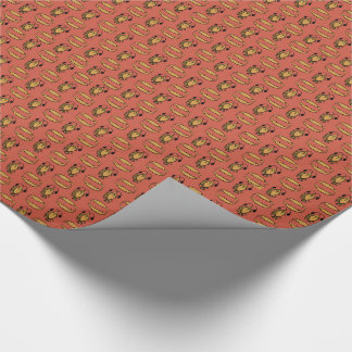 Egyptian Fish, Crocodile on Red Wrapping Paper