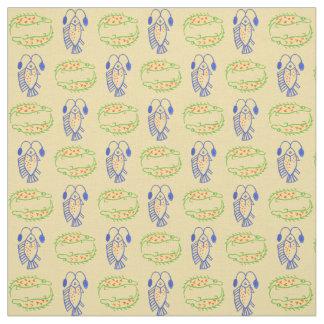 Egyptian Fish, Crocodile on Yellow Fabric