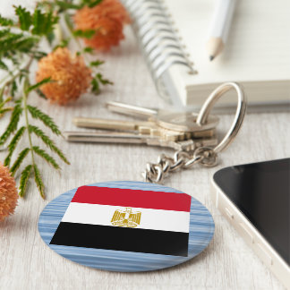 Egyptian Flag Floating on water Basic Round Button Keychain
