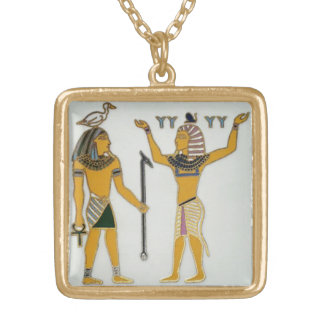Egyptian Geb & Shu Earth & Air Square Pendant Necklace