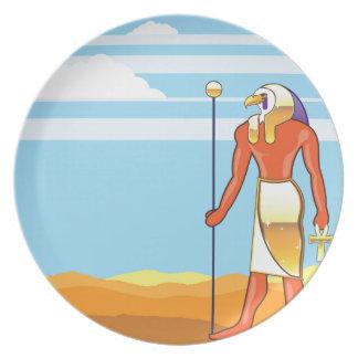 Egyptian God Vector Eagle Head Golden Vector Melamine Plate