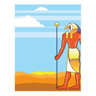 Egyptian God Vector Eagle Head Golden Vector Postcard