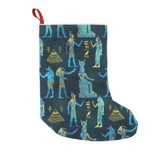egyptian gold and blue glass pattern small christmas stocking