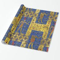 Egyptian  Gold  symbols on Lapis Lazuli Wrapping Paper