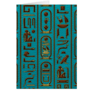 Egyptian Golden Leather hieroglyphs  on teal Card